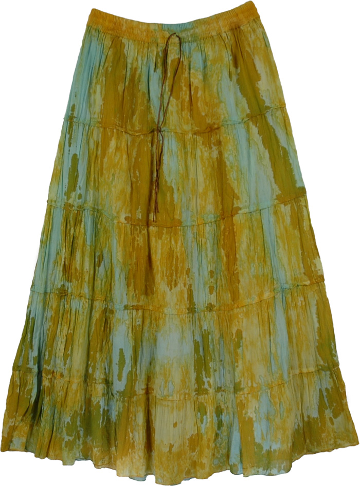 Tie Dye Yellow Blue Long Skirt, Ancient RocksTie Dye Marble Skirt