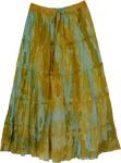 Tie Dye Yellow Blue Long Skirt [2871]