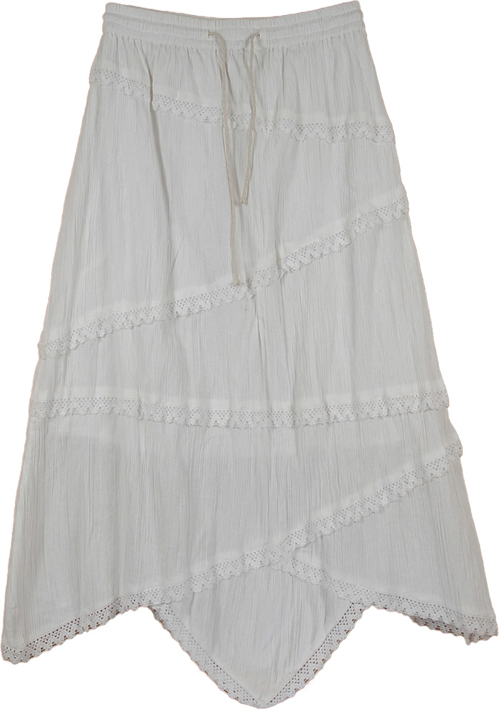 Uneven Laced Long Indian White Skirt, Scalloped Hem White Laced A Line Skirt