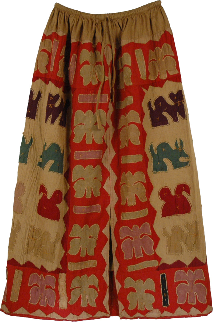 Indian Long Skirt Applique Work, Bohemian Applique Work Cotton Long Skirt