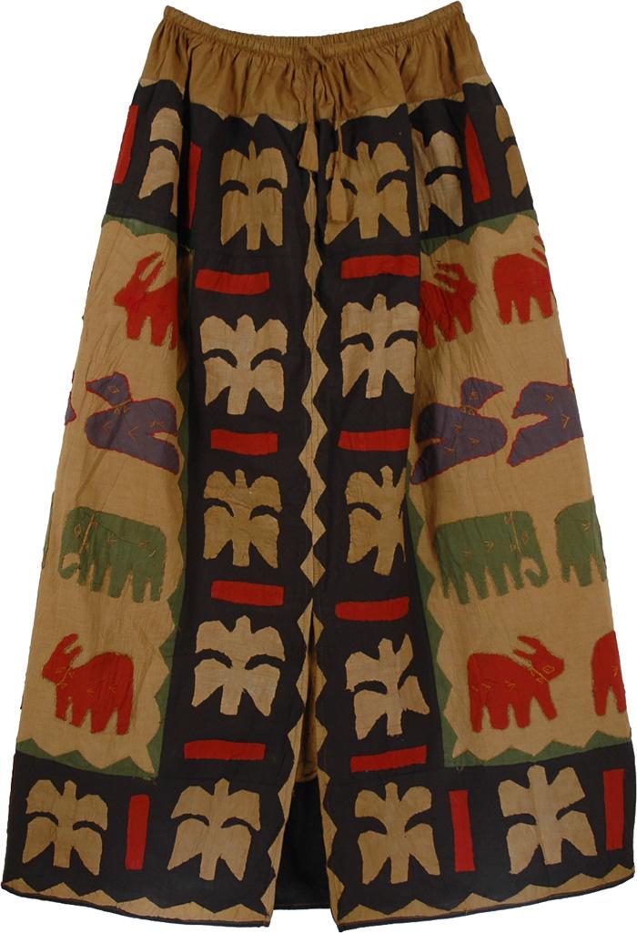 Contrasting Colors Animal Pattern Skirt, Tribal Symbols Animal Applique Skirt