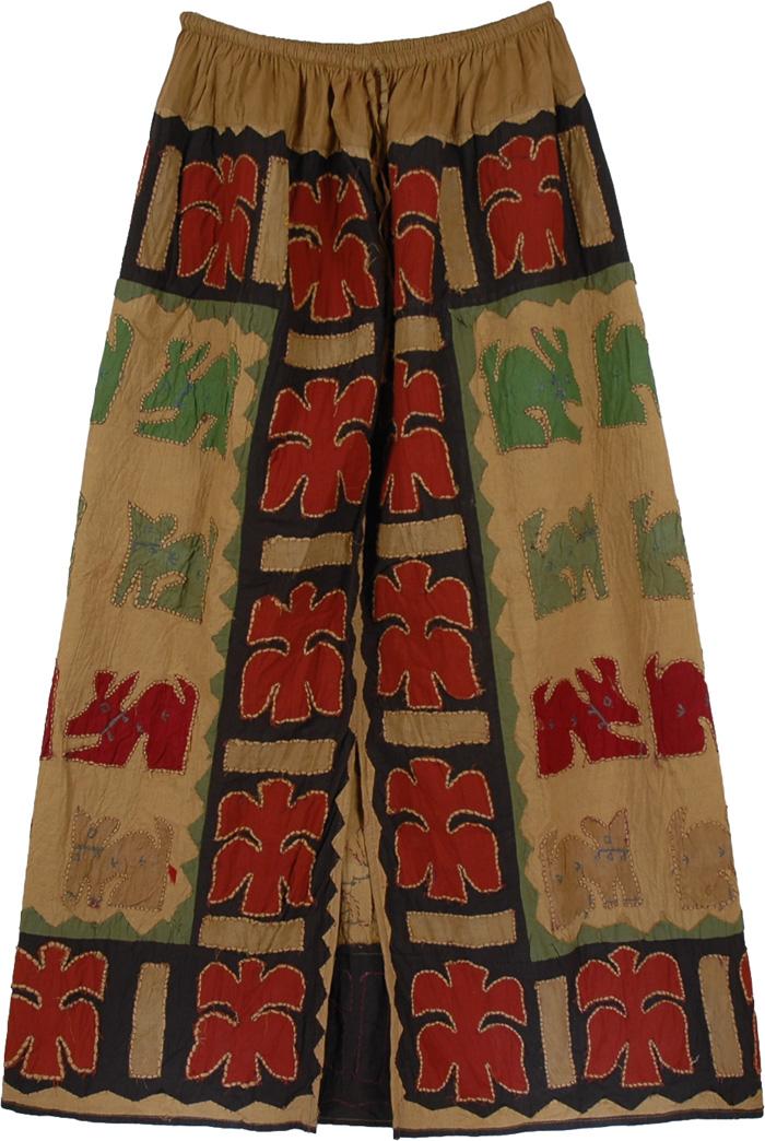 Red Green Animal Pattern Skirt, Exotic Applique Forest Skirt
