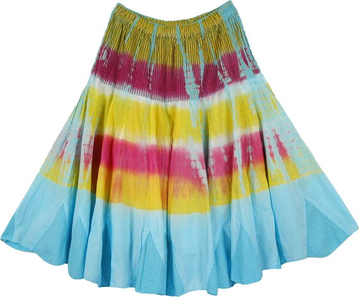 Sky Blue Fashion Long Skirt, Morning Bliss Cotton Short Skirt