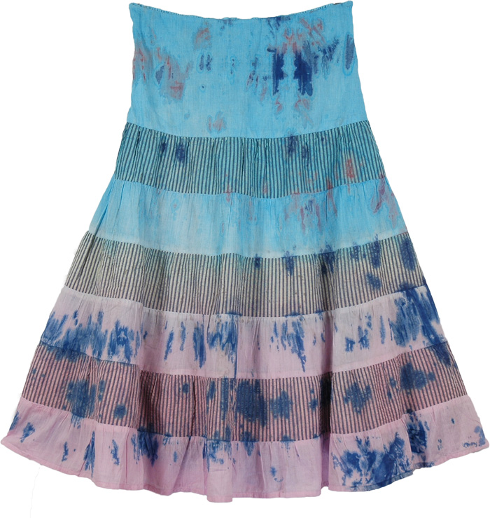 Pink Blue Fashion Long Skirt, Viking Lily Cotton Trendy Short Skirt