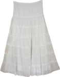 Classy White Cotton Trendy Skirt