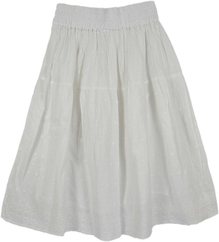 White Cotton Summer Skirt, Snow Eyelet White Skirt