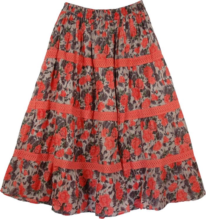 Floral Summer Long Cotton Skirt, Coral Crochet Floral Skirt
