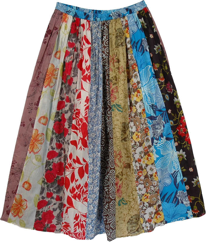 Print Patches Long Skirt, Colorful Vintage Multi Print Long Skirt