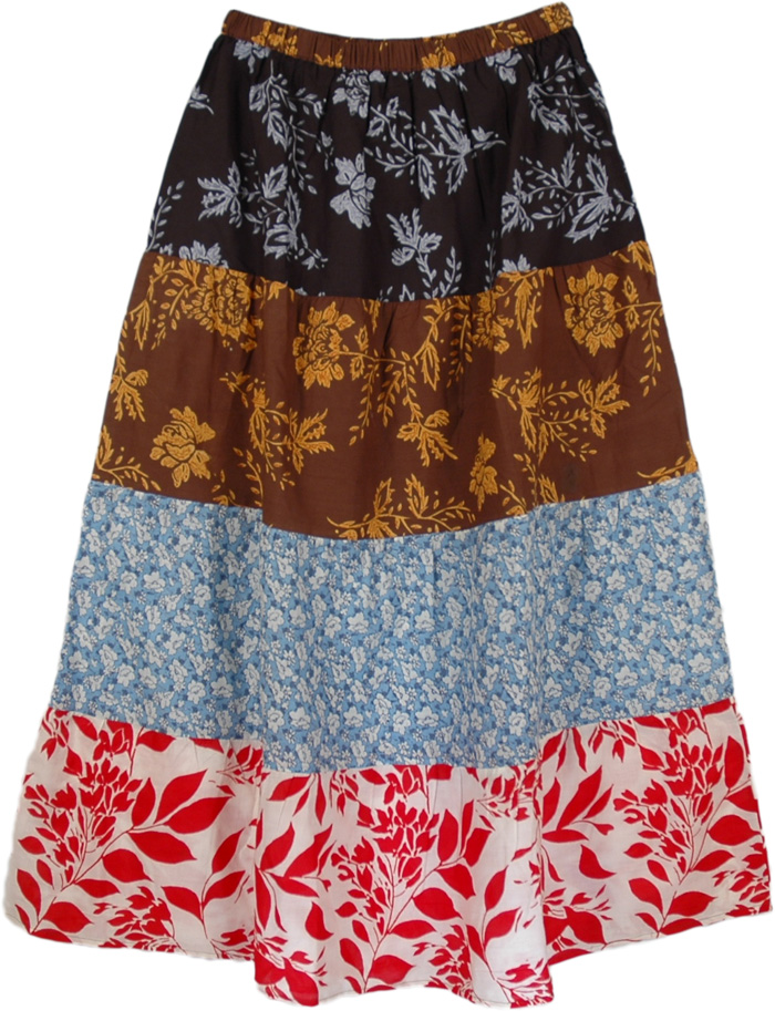 Colorful Cotton Patches Long Skirt, Bloom Summer Cotton Long Skirt