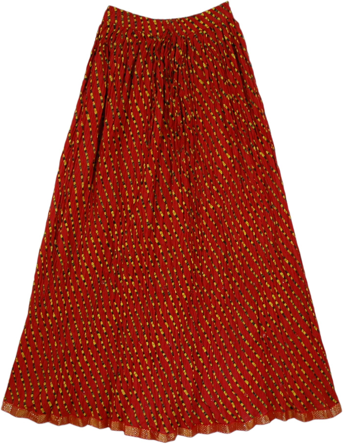 Red Crinkle Travel Skirt, Red Mesh Crinkle Long Skirt with Mirrors