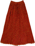 Red Mesh Crinkle Long Skirt with Mirrors