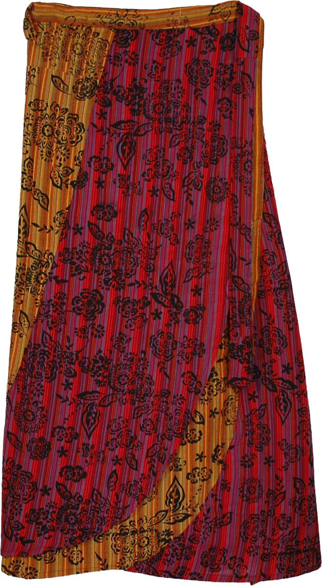 Tribal Wrap Straight Long Skirt, Meztiso Tribal Long Wrap Skirt