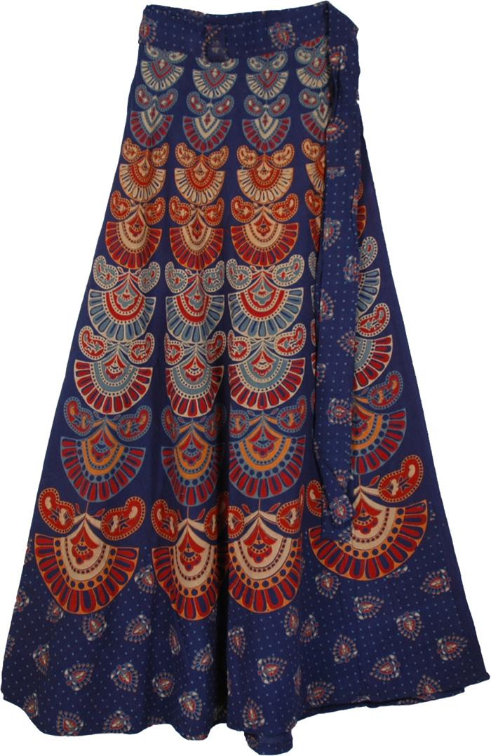mexico boho blue wrap skirt clothing wrap around skirt