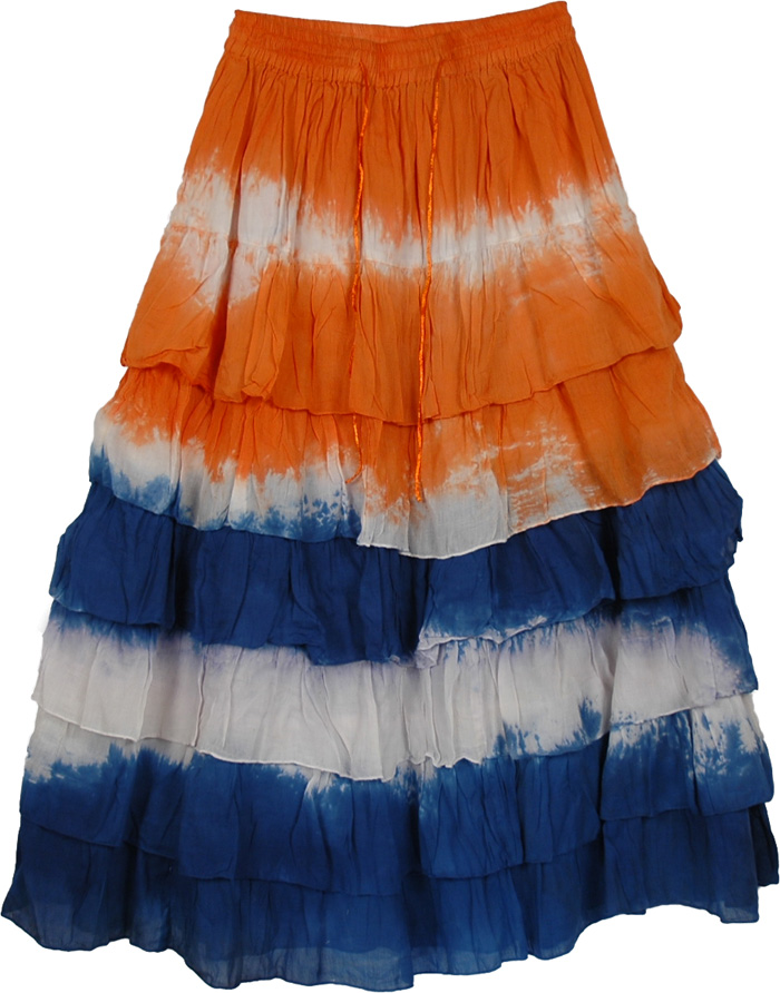Multiple Tiered Skirt in Orange Blue, Flares Orange Blue Tie Dye Frills Skirt