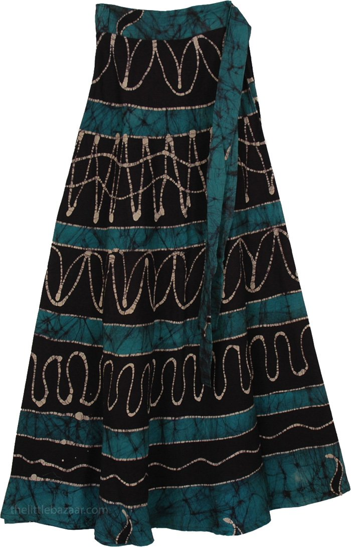 Green Black Batik Wrap Long Skirt, Blumine Green Wrap Long Skirt