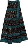 Blumine Green Wrap Long Skirt