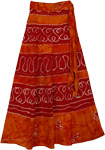 Wrap Long Skirt Burgundy Tangerine