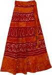 Wrap Long Skirt Burgundy Tangerine