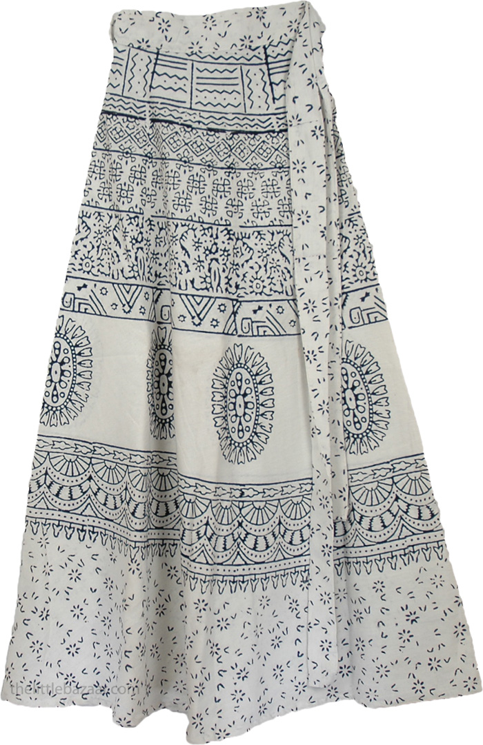 66f3d8bad Indian Cotton Long White Skirt With Ethnic Print, Elegant White Long Wrap  Around Skirt