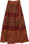 Brown Rust Floral Long Skirt