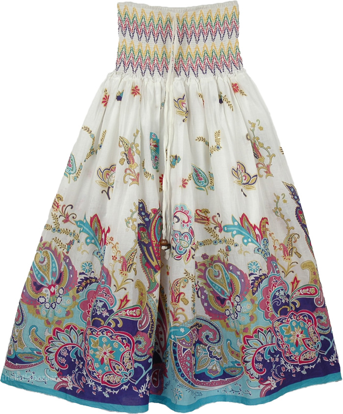 White Floral Pattern Fashion Skirt, White Fancy Maxi Dress Skirt