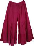 Dark Pink Split Skirt Pants with Elastic Waist