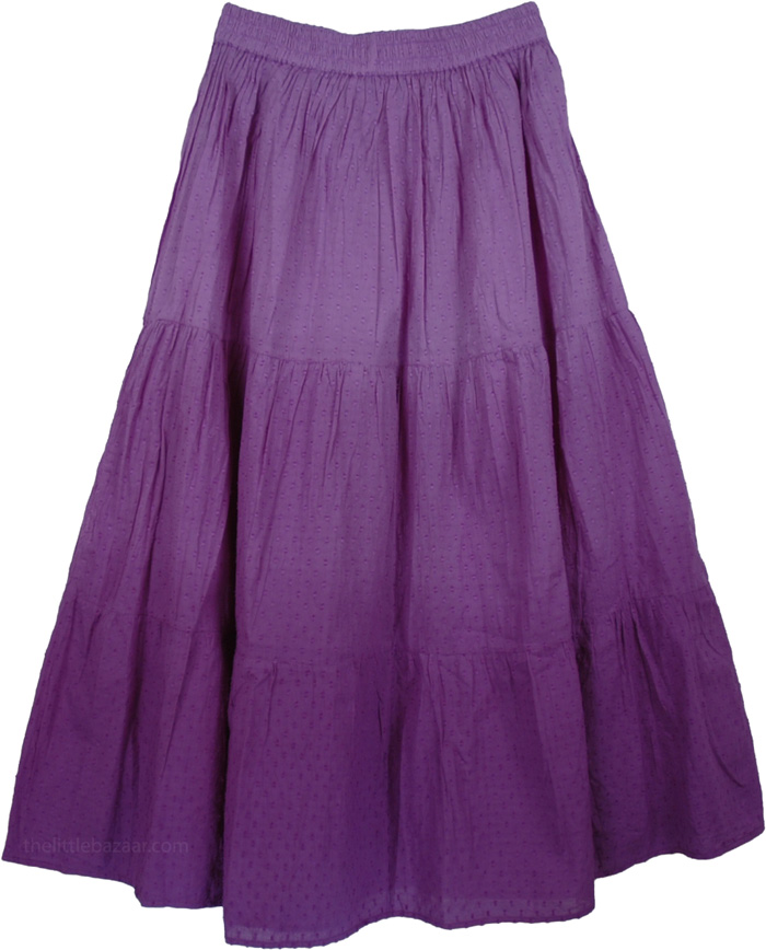 Purple Summer Fashion Long Skirt, Bliss Cotton Purple Skirt