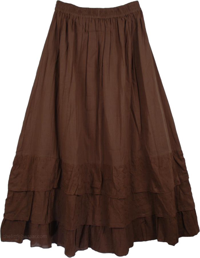 Brown Cotton Stylish Skirt - Clearance - Sale on bags skirts jewelry at polkadotinc.com