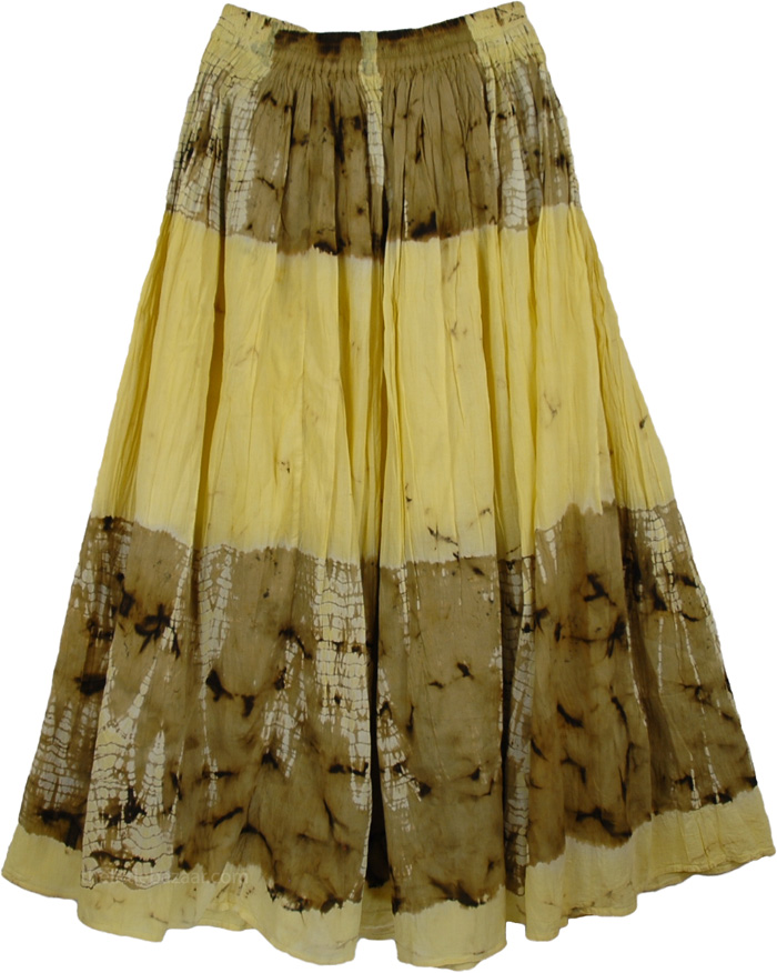 Yellow Tie Dye Cotton Skirt, Sun-n-Beach Tie Dye Skirt