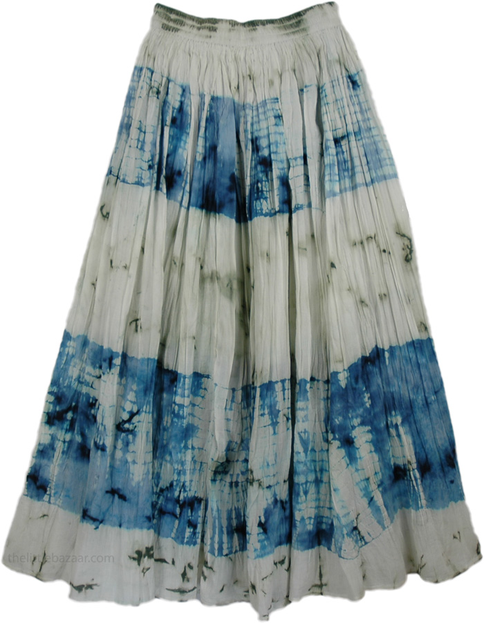 Blue White Tie Dye Cotton Skirt, Cotton Seed Blue Tie Dye Skirt