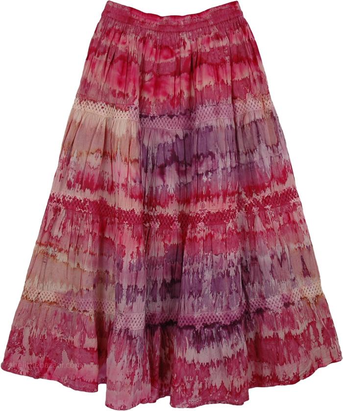 Pink Shades Tie Dye Cotton Skirt, Bleeding Tie-Dye Skirt