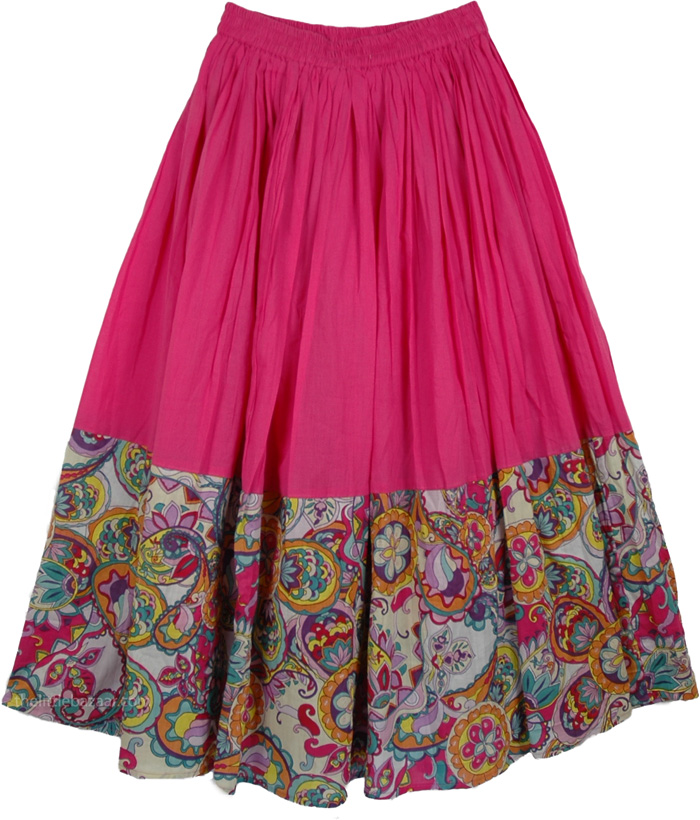 Plain Pink Skirt with Graphic Print, Savory Pink Casual Long Skirt