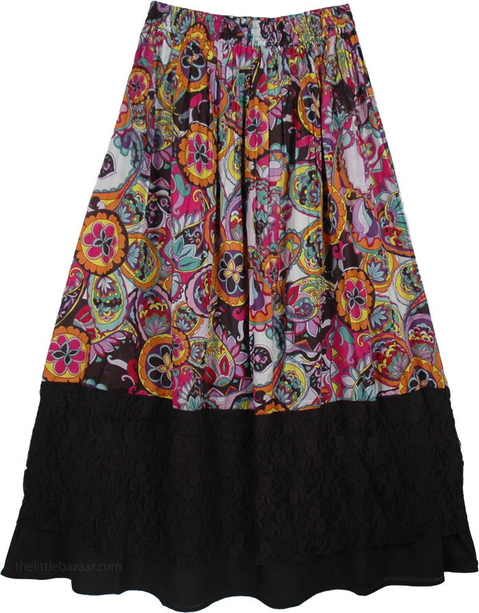Black Skirt with Graphic Print, Multi Colored Print Black Casual Long Skirt