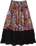 Multi Colored Print Black Casual Long Cotton Lace Skirt
