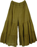 Henna Green Skort Palazzo Skirt