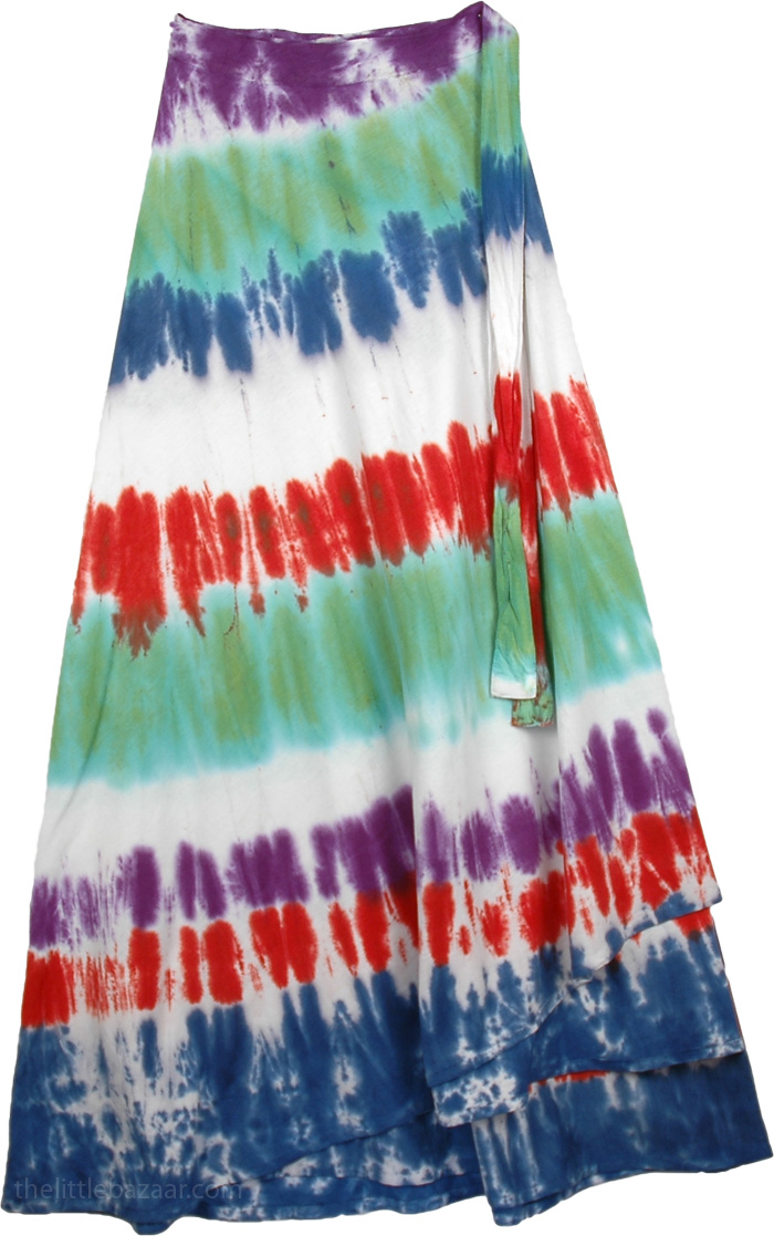 Womens Holi Circles Tie Dye Indian Skirt , Flush Circles Tie Dye Wrap Long Skirt