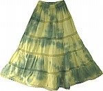 Boho Chic Tie Dye Long Skirt Green