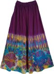 Wine Berry Tie Dye Chic Long Skirts