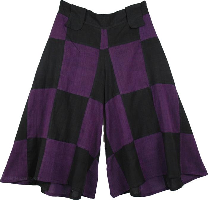 Purple Black Squares Skirt Trouser, Purple Block Divided Skirt Pant