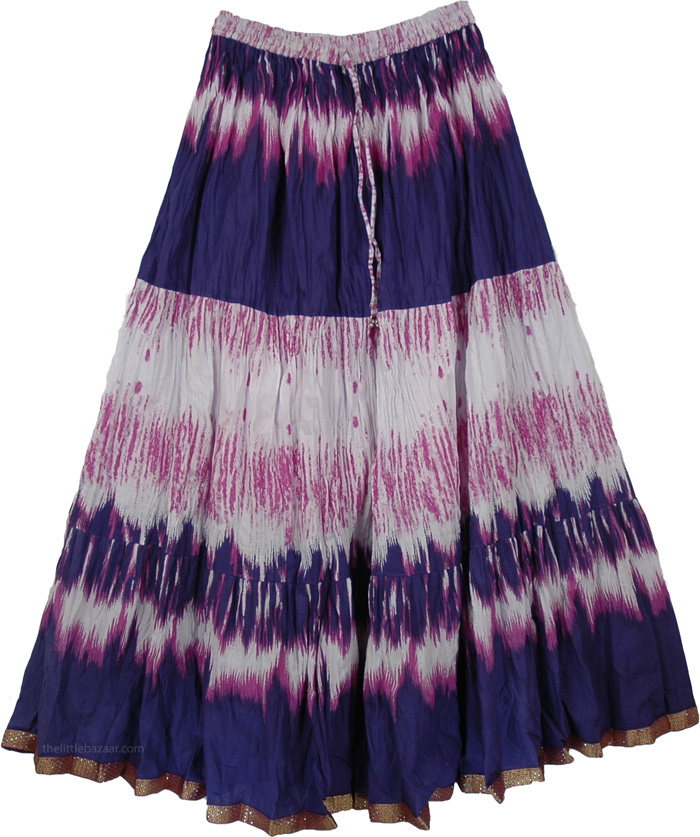 Cotton Printed Long Skirt Blue Pink, Jacarta Blush Summer Long Skirt