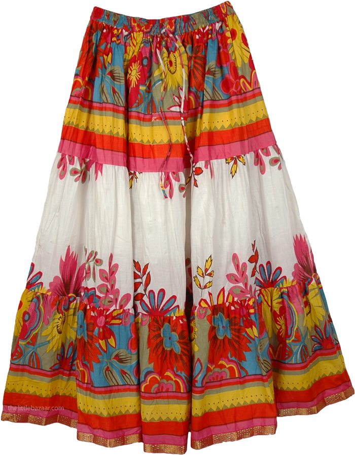 Florals Cotton Printed Long Skirt - Clearance - Sale on bags ...
