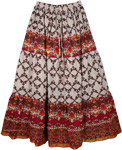 Carmine Bright Cotton Long Skirt