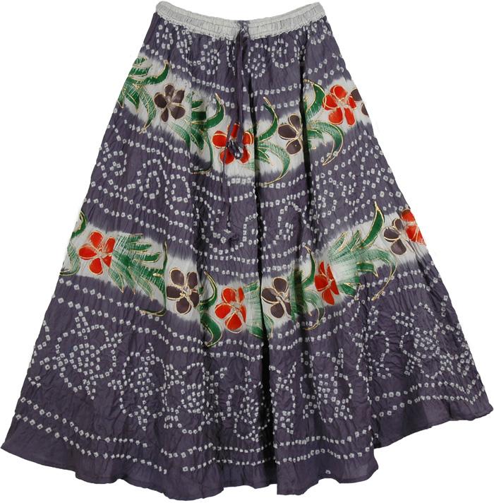 Cotton Grey Romantic Long Skirt, Grey Chic Summer Long Skirt