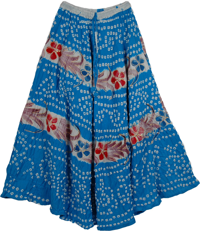 Cotton Blue Stylish Long Skirt, Blue Gypsy Long Tie Dye Skirt