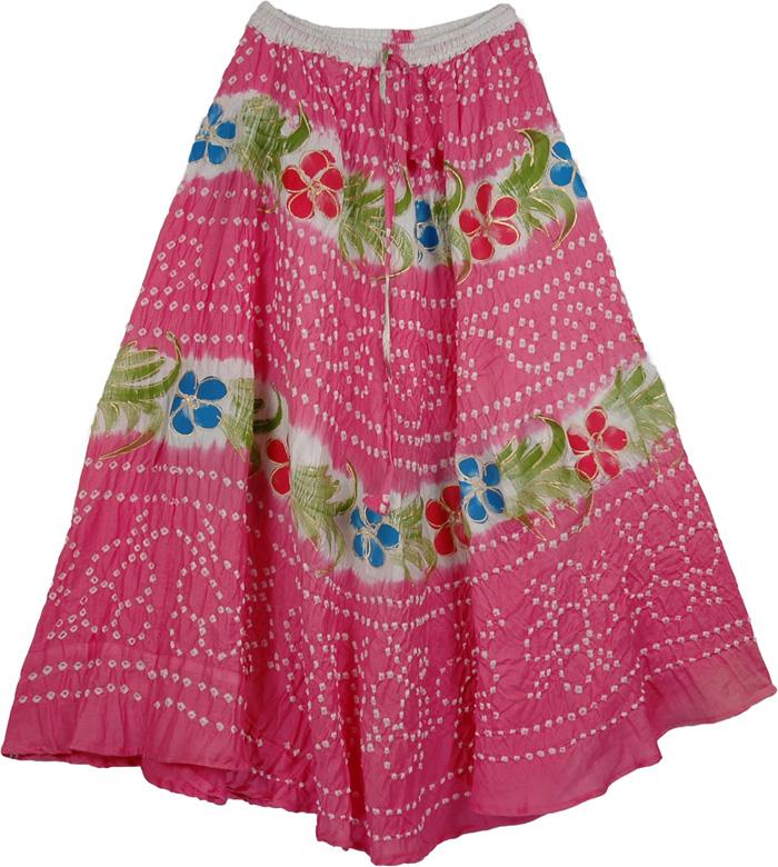 Pink Ties Stylish Long Skirt, Pink Hippy Tie Dye Long Skirt