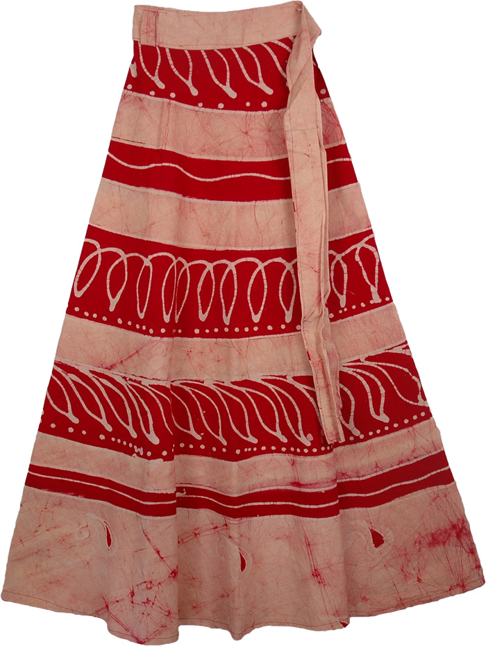 Red White Batik Wrap Long Skirt, Sangria Cream Earth Wrap Skirt