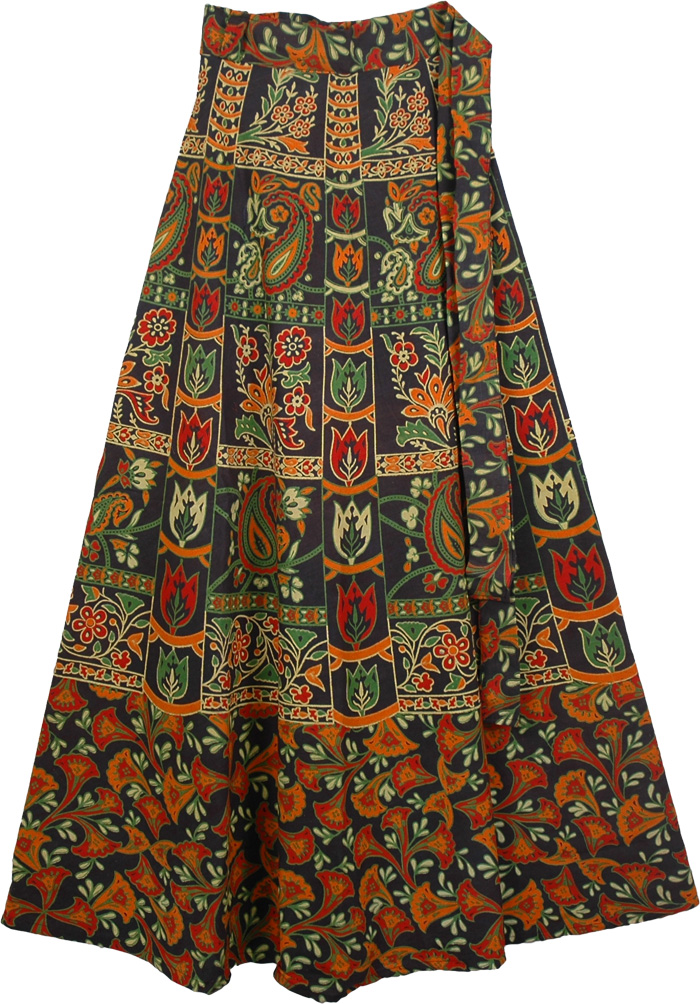 Blue Skirt With Ethnic Colorful Print - Clothing - Sale on bags ...