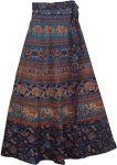 Blue Galore Ethnic Long Wrap Skirt