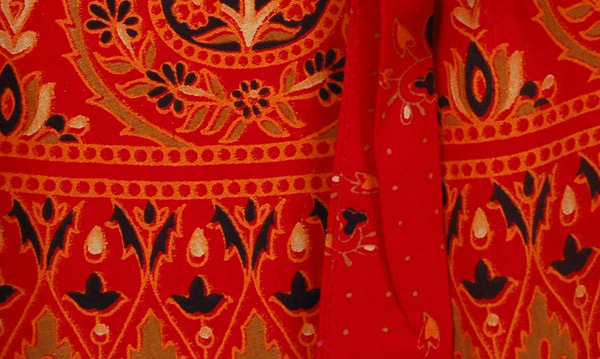 Monza Red Ethnic Long Wrap Skirt