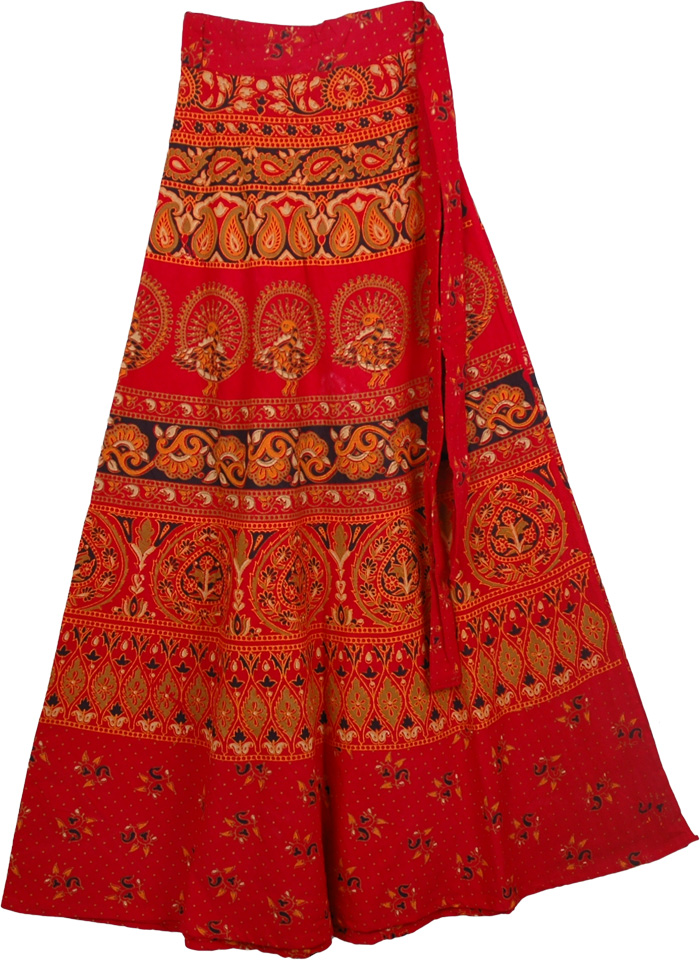 Red Skirt With Ethnic Prints, Monza Red Ethnic Long Wrap Skirt